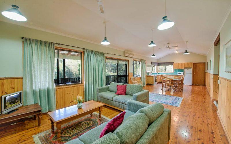 Morrison Cottage living area at Glen Ayr Cottages
