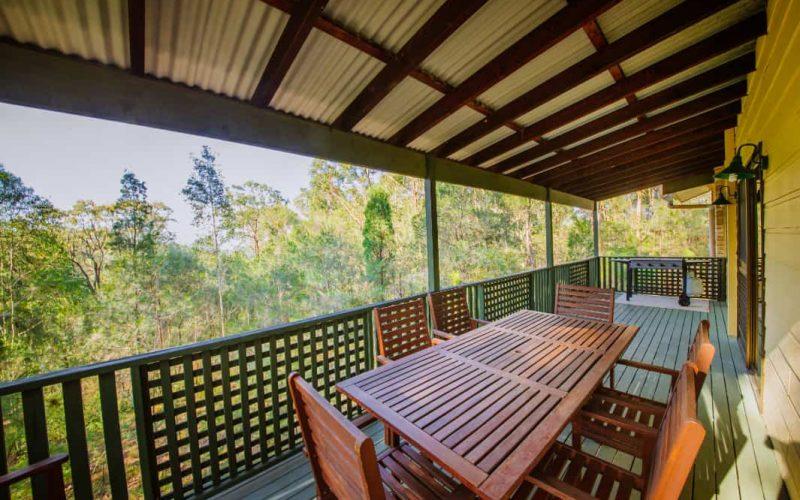 Morrison Cottage verandah with gas BBQ at Glen Ayr Cottages