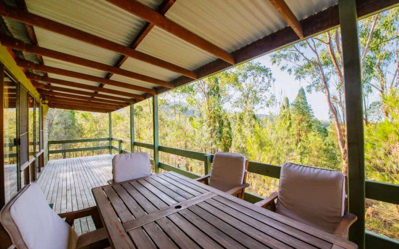 Stewart Cottage back verandah at Glen Ayr Cottages