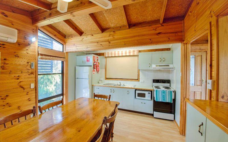 Stewart Cottage kitchen and dining area at Glen Ayr Cottages
